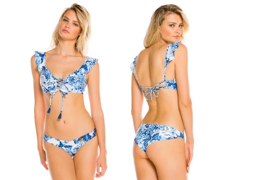 Ruffle bikini Maat Blauw bloemen - L