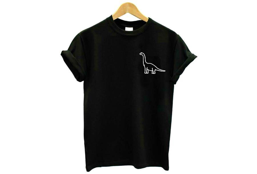 Printed T-shirt Maat M - Brontosaurus - zwart