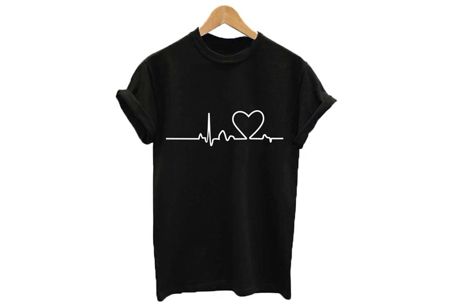 Printed T-shirt Maat XL - Heartbeat - zwart