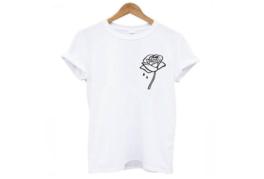 Printed T-shirt Maat M - Roos - wit
