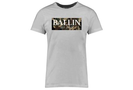 BALLIN Est heren T-shirts | Hippe shirts met diverse prints - hoogwaardige katoenmix Army - grijs