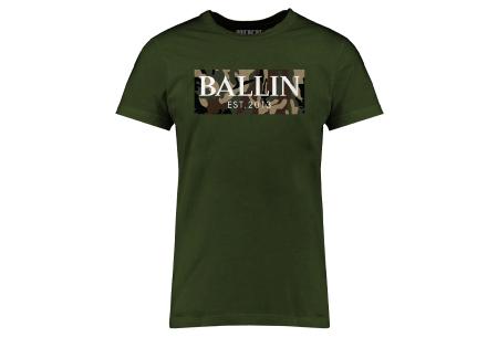 BALLIN Est heren T-shirts | Hippe shirts met diverse prints - hoogwaardige katoenmix Army - legergroen