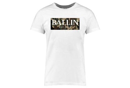 BALLIN Est heren T-shirts | Hippe shirts met diverse prints - hoogwaardige katoenmix Army - wit