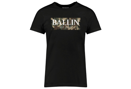 BALLIN Est heren T-shirts | Hippe shirts met diverse prints - hoogwaardige katoenmix Army - zwart