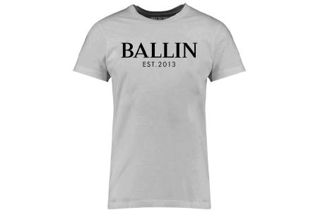 BALLIN Est heren T-shirts | Hippe shirts met diverse prints - hoogwaardige katoenmix Basic - grijs