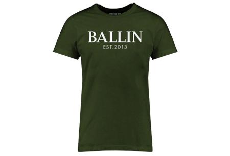 BALLIN Est heren T-shirts | Hippe shirts met diverse prints - hoogwaardige katoenmix Basic - legergroen