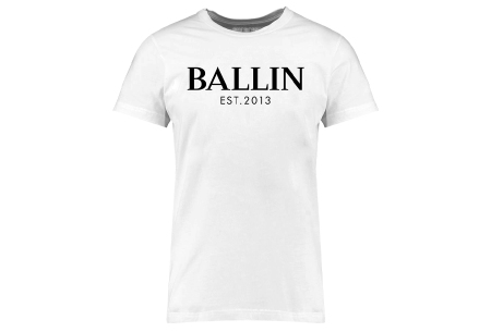BALLIN Est heren T-shirts | Hippe shirts met diverse prints - hoogwaardige katoenmix Basic - wit