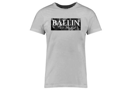 BALLIN Est heren T-shirts | Hippe shirts met diverse prints - hoogwaardige katoenmix Army grijs - grijs