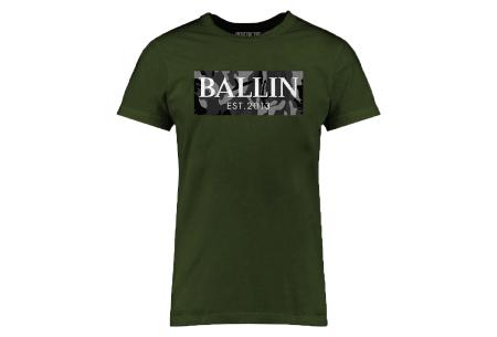 BALLIN Est heren T-shirts | Hippe shirts met diverse prints - hoogwaardige katoenmix Army grijs - legergroen