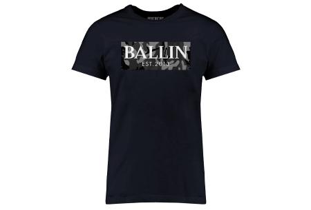 BALLIN Est heren T-shirts | Hippe shirts met diverse prints - hoogwaardige katoenmix Army grijs - navy