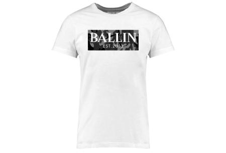 BALLIN Est heren T-shirts | Hippe shirts met diverse prints - hoogwaardige katoenmix Army grijs - wit