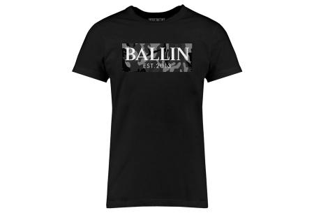 BALLIN Est heren T-shirts | Hippe shirts met diverse prints - hoogwaardige katoenmix Army grijs - zwart