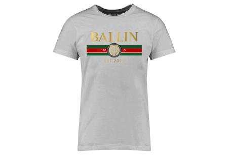 BALLIN Est heren T-shirts | Hippe shirts met diverse prints - hoogwaardige katoenmix Streep - grijs