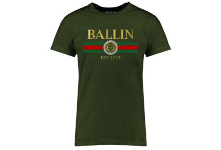 BALLIN Est heren T-shirts | Hippe shirts met diverse prints - hoogwaardige katoenmix Streep - legergroen