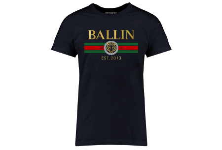 BALLIN Est heren T-shirts | Hippe shirts met diverse prints - hoogwaardige katoenmix Streep - navy