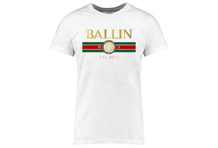 BALLIN Est heren T-shirts | Hippe shirts met diverse prints - hoogwaardige katoenmix Streep - wit