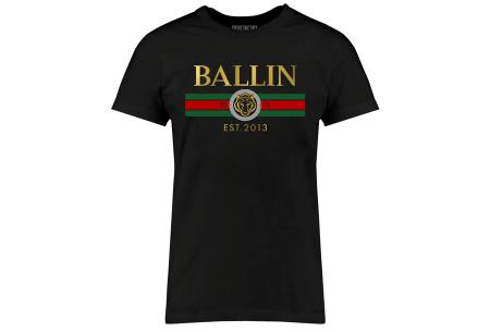 BALLIN Est heren T-shirts | Hippe shirts met diverse prints - hoogwaardige katoenmix Streep - zwart