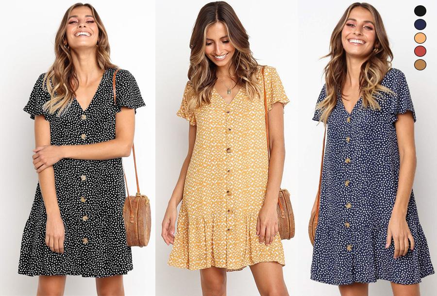 57% korting - Casual button jurk