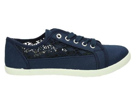 Lace sneakers | Stijlvolle damesschoenen in 4 kleuren Blauw
