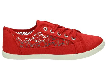Lace sneakers | Stijlvolle damesschoenen in 4 kleuren Rood