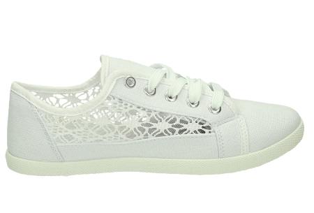 Lace sneakers | Stijlvolle damesschoenen in 4 kleuren Wit