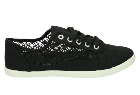 Lace sneakers | Stijlvolle damesschoenen in 4 kleuren Zwart