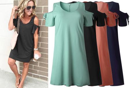 T-shirt jurk met open schouders nu in de sale