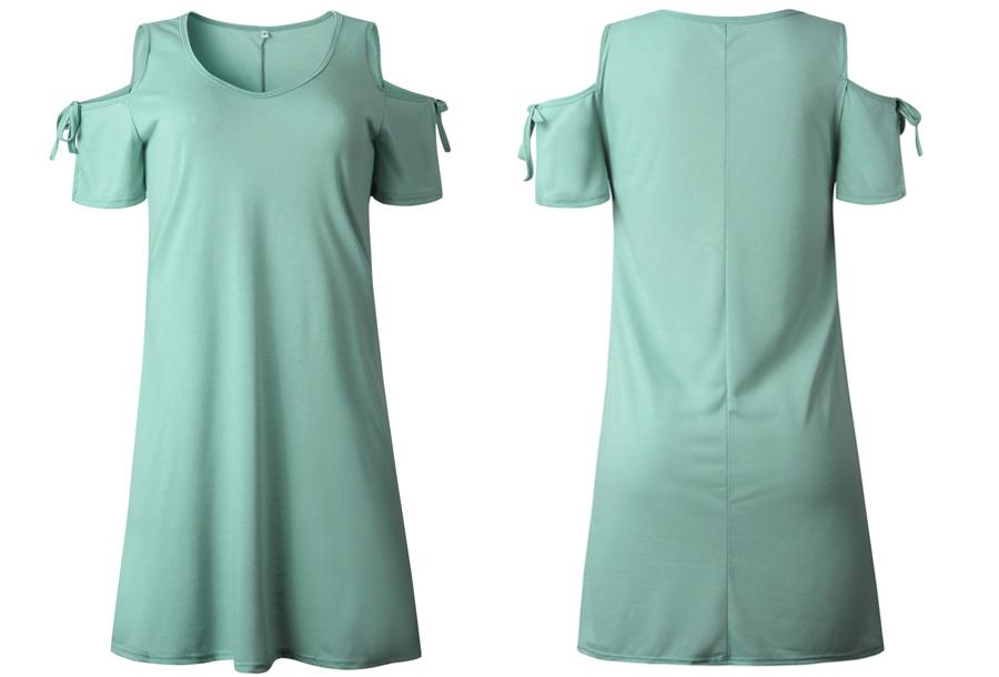 T-shirt jurk met open schouders - Maat L - Mintgroen