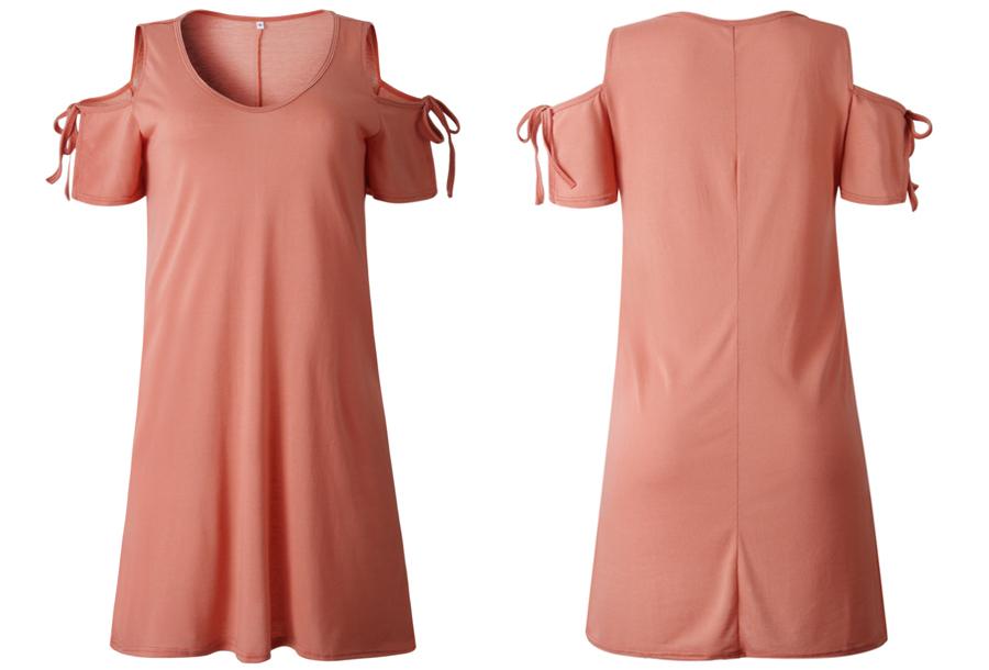 T-shirt jurk met open schouders - Maat L - Roze