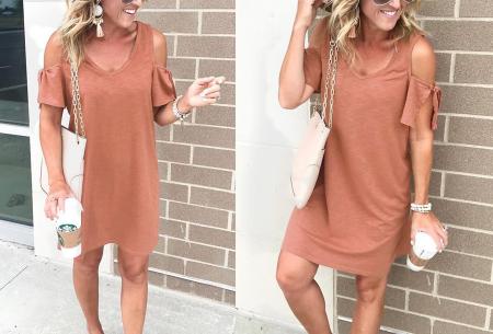 T-shirt jurk met open schouders | Hip zomerjurkje met soepelvallende pasvorm