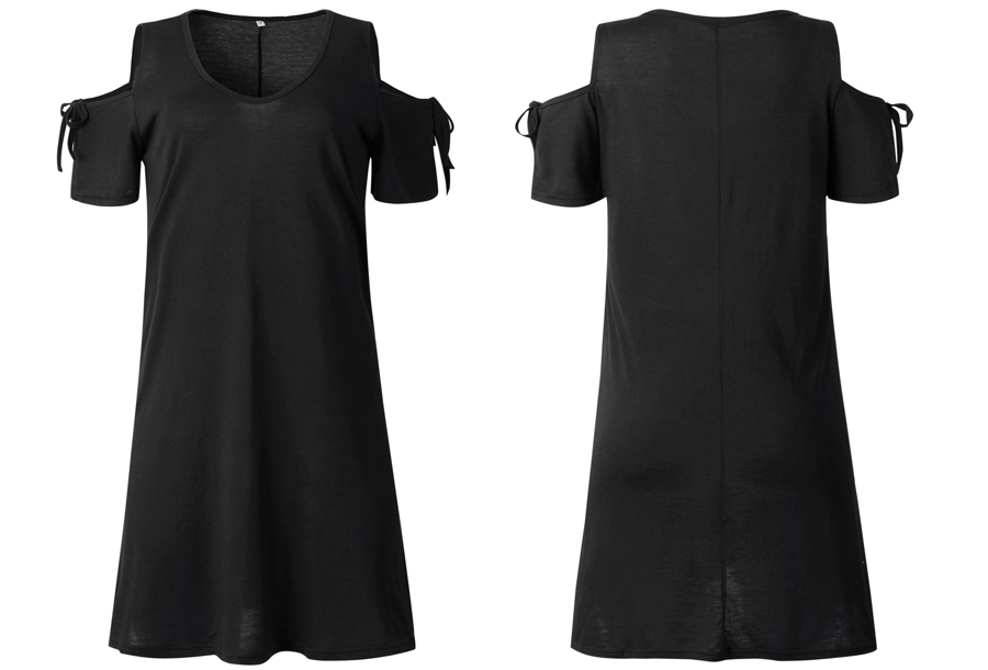 T-shirt jurk met open schouders - Maat L - Zwart