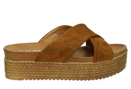 Criss Cross sandalen voor dames   Trendy slippers met gekruiste bandjes en plateauzool camel