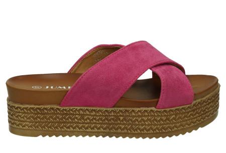 Criss Cross sandalen voor dames   Trendy slippers met gekruiste bandjes en plateauzool fuchsia
