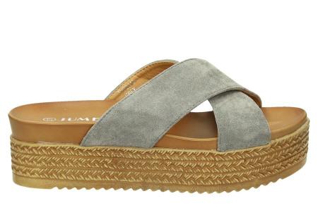 Criss Cross sandalen voor dames   Trendy slippers met gekruiste bandjes en plateauzool grijs