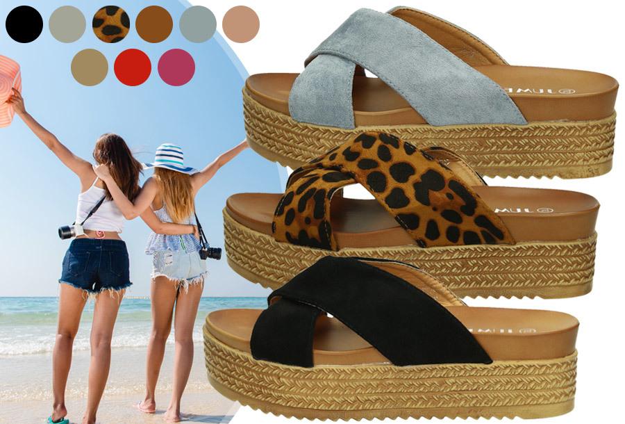 Criss Cross sandalen voor dames in de sale <br/>EUR 16.99 <br/> <a href='https://tc.tradetracker.net/?c=24550&m=1018105&a=230468&u=https%3A%2F%2Fwww.vouchervandaag.nl%2Fcriss-cross-slippers-sandalen-plateauzool-dames' target='_blank'>bekijk product</a>