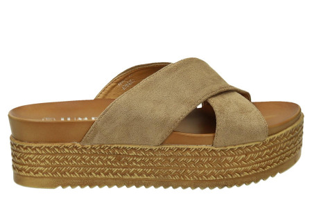 Criss Cross sandalen voor dames   Trendy slippers met gekruiste bandjes en plateauzool khaki