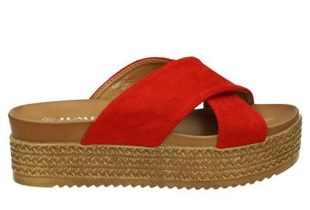 Criss Cross sandalen voor dames   Trendy slippers met gekruiste bandjes en plateauzool rood