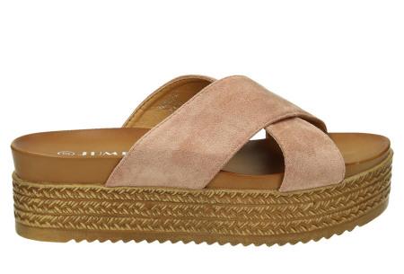 Criss Cross sandalen voor dames   Trendy slippers met gekruiste bandjes en plateauzool roze