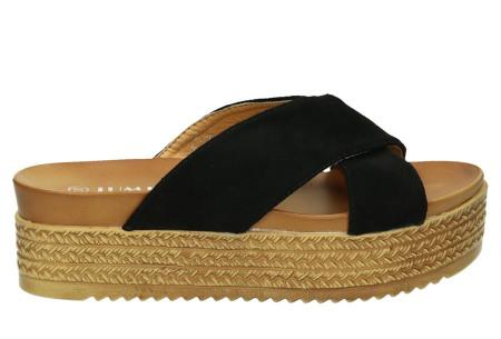 Criss Cross sandalen voor dames   Trendy slippers met gekruiste bandjes en plateauzool zwart