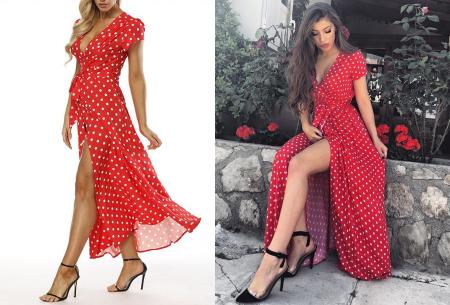 Polkadot maxi jurk | Zomerse lange jurk met stippen voor een elegante look rood