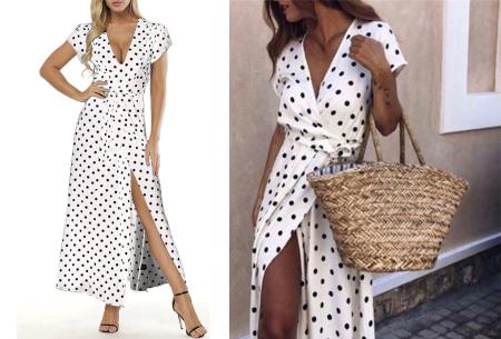 Polkadot maxi jurk | Zomerse lange jurk met stippen voor een elegante look wit