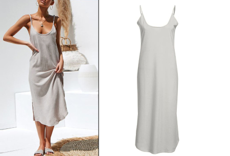 Basic maxi dress | Lange stretchy zomerjurk met spaghettibandjes grijs