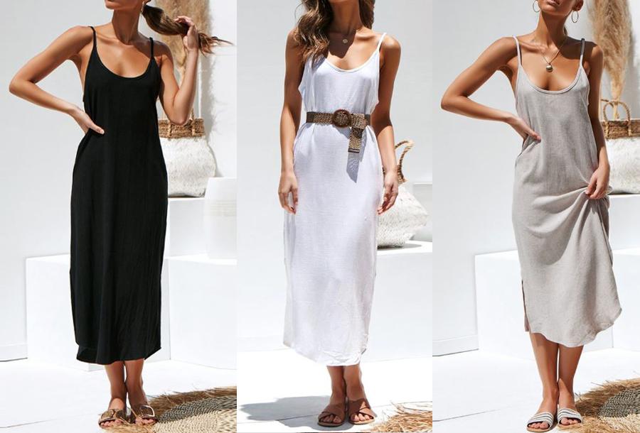 Basic maxi dress met korting <br/>EUR 13.99 <br/> <a href='https://tc.tradetracker.net/?c=24550&m=1018105&a=230468&u=https%3A%2F%2Fwww.vouchervandaag.nl%2Fbasic-maxi-dress-spaghettibandjes-jurk' target='_blank'>bekijk product</a>