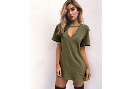V-neck jurk | Trendy zomerjurk in maar liefst 11 kleuren army groen