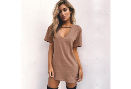 V-neck jurk | Trendy zomerjurk in maar liefst 11 kleuren khaki