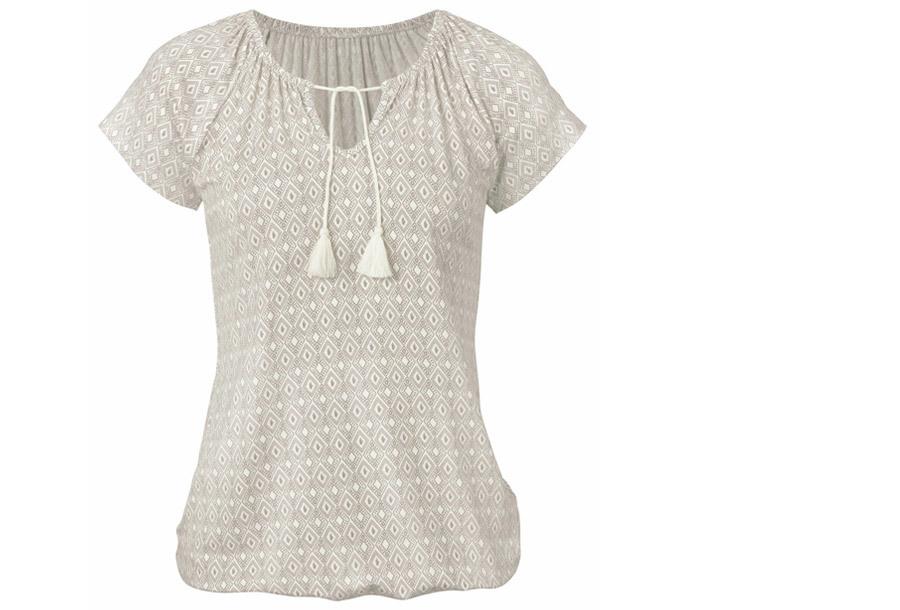 Pattern shirt met kwastjes - Maat M - Grijs