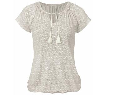 Pattern shirt met kwastjes | Zomers dames T-shirt voor een trendy look grijs