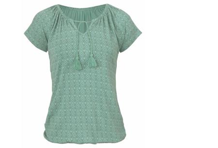 Pattern shirt met kwastjes | Zomers dames T-shirt voor een trendy look groen