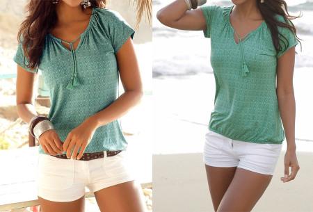 Pattern shirt met kwastjes | Zomers dames T-shirt voor een trendy look