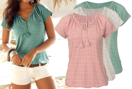 Pattern dames T-shirt met kwastjes in de sale
